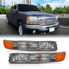 GMC SIERRA /YUKON/ YUKON XL 99-06 PARKING TURN SIGNAL LIGHTS CHROME AMBER(OE)
