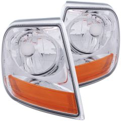 FORD F-150 97-03 / EXPEDITION 97-02 CORNER LIGHTS CHROME EURO (HARLEY-DAVIDSON® STYLE)