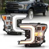 FORD F-150 18-19 LED PROJECTOR PLANK STYLE SWITCHBACK H.L. CHROME AMBER
