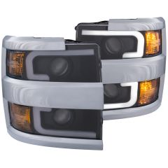 CHEVY SILVERADO 2500HD,3500HD 15-19 PROJECTOR SWITCHBACK HEADLIGHT  BLACK W/ AMBER (CHROME RIM)