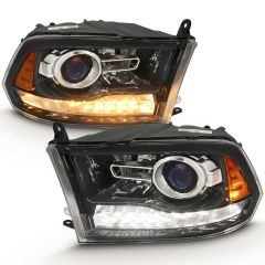 DODGE RAM 1500 09-18 / RAM 2500/3500 10-18 PROJECTOR PLANK STYLE SWITCHBACK H.L HALO BLACK AMBER (OE STYLE)