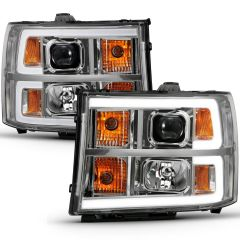 GMC SIERRA 1500 07-13 2500/3500 HD 07-14 1500 Hybrid 07-13 PROJECTOR HEADLIGHT PLANK STYLE CHROME W/ CLEAR LENS AMBER
