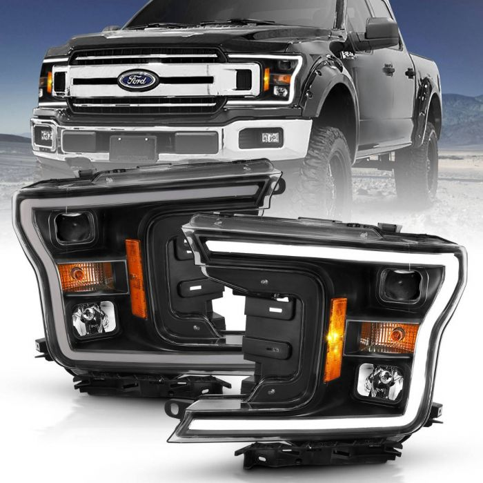 FORD F-150 18-19 PROJECTOR PLANK STYLE H.L. BLACK AMBER (WITHOUT SWITCHBACK)